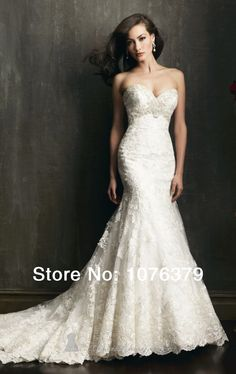 Luxury Professional Custom-Made 2014 sexy mermaid wedding dresses lace sweetheart vintage wedding dress free shipping US $65.92