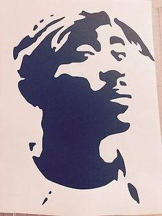 Vinyl Decal Bumper Car Window Sticker - Tupac Shakur 3d Pencil Drawings, Easy Drawings, Etch A Sketch Art, Graffiti Wall Art, Car Window Stickers, Rapper Art, Graffiti Designs, Face Sketch, Tupac Shakur