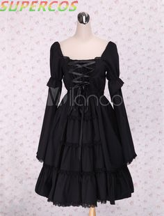 >> Click to Buy << Free shipping! New Arrivals! High quality! Square Neck Black Lace Cotton Cosplay Lolita Dress #Affiliate