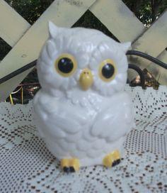 Ceramic Owl Bank Piggy Bank   Glazed White  by StrokesofMadness, $12.50