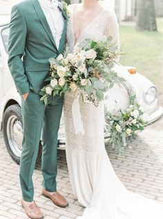 Wedding Suits 25 Colorful Groom Attire Ideas For A Statement Green Wedding Suit, Sage Green Wedding, Best Wedding Suits For Groom, Summer Wedding Suits, Green Weddings, Rustic Groomsmen Attire, Groom Suits, Grooms Men Attire, Groom Outfit