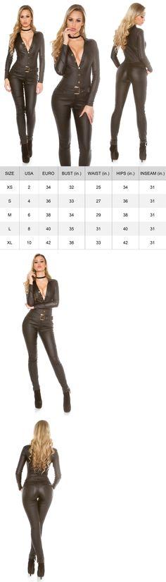 18a93ccc51fb Jumpsuits And Rompers  Women S Faux Leather Long Sleeve Jumpsuit + Belt -  Xs S M L