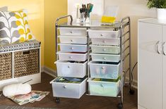 This is perfect for all of your craft storage needs. Honey-Can-Do Rolling Storage Cart and Organizer with 12 Plastic Drawers: Home & Kitchen Plastic Storage Drawers, Storage Chest, Drawer Storage, Book Storage, Large Drawers, Storage Bins, Storage Cabinets, Rolling Storage Cart, Rolling Carts