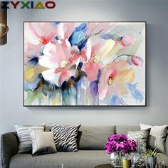 """Universe of goods - Buy """"Abstract Watercolor Flower Oil Painting Print On Canvas Modern Wall Art Flower Picture For Living Room Wall Poster Cuadros Decor"""" for only USD. Oil Painting Flowers, Abstract Flowers, Watercolor Flowers, Painting Prints, Flower Painting Abstract, Paint Flowers, Floral Wall Art, Abstract Wall Art, Abstract Watercolor"""