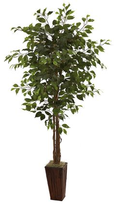 Weeping Fig Ficus Artificial Tree With Planter