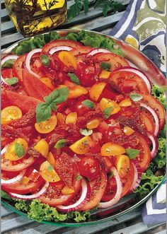 4 Tomato Salad Recipe ~ sun-dried tomatoes, field tomatoes, yellow cherry tomatoes plum tomatoes with Homemade Balsalmic Dressing Brunch Recipes, Soup Recipes, Healthy Recipes, Yummy Recipes, Plum Tomatoes, Dried Tomatoes, Cherry Tomatoes, Barbeque Side Dishes, Tomato Salad Recipes