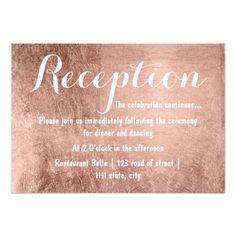 Luxury faux rose gold leaf wedding reception card #rosegold #weddinginvitations #rosegoldwedding #chic #sparkle #glitter #watercolor