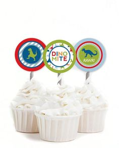 Dinosaur Cupcake Toppers, Dinomite Birthday, Dinosaur Party Decor, T-Rex Birthday, Jurassic Party, Boy Birthday Decor See more party ideas and share yours at CatchMyParty.com #catchmyparty #partyideas #dinosaurparty #dinosaurcupcakes