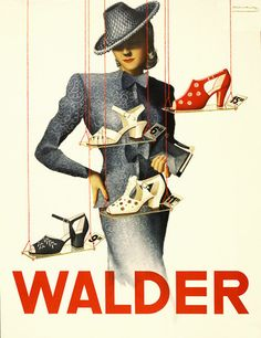 Vintage Shoes Giclee Print: Walder - Switzerland - Swiss Shoe Store - Schuhhaus Walder AG by Viktor Rutz : - 1930s Fashion, Moda Fashion, Trendy Fashion, Vintage Fashion, Fashion Tips, Fashion Shoes, Womens Fashion, Fashion Brands, Fashion Dresses