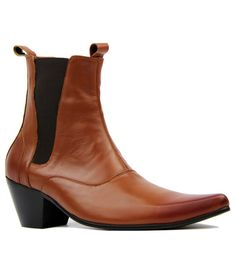 807142667dcabd Outlaw Retro 60s Mod Cuban Heel Chelsea Boots in Tan Leather from Madcap  England  madcapengland
