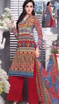 Fashionable Indian Red Cotton Printed Pakistani Suit-KCW-54257-CA