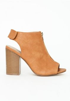383a2b9d523 Missguided - Zip Front Block Heel Sandals Tan