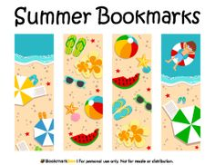 Free printable summer bookmarks in PDF format. The template includes four different bookmark designs per page. Free Printable Bookmarks, Bookmark Template, Bookmarks Kids, Corner Bookmarks, Free Printables, Diy Back To School, Holiday Themes, Mothers Day Crafts, Paper Tags