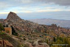 The village of Uçhisar at dusk in the Cappadocia region of #Turkey.