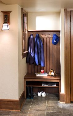 arts and crafts, Crown Point Cabinetry; entry way: bench, coats, could have shelf up top, I like to opening below bench for shoes, but need more storage than thin shelf here; could do combo