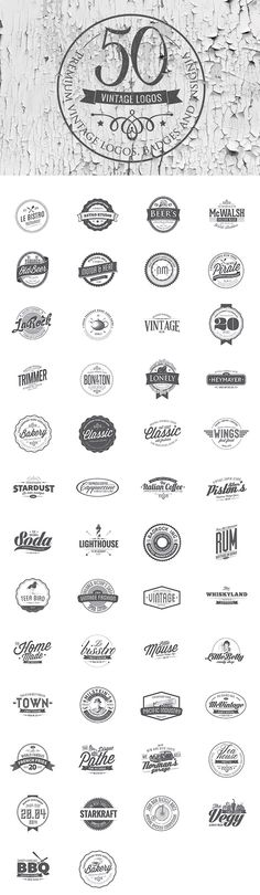50 Vintage Logo Templates for Premium Members – retro Badge Design, Logo Design Template, Logo Templates, Rundes Logo, Layout Design, Web Design, House Design, Logos Retro, Vintage Logo Design
