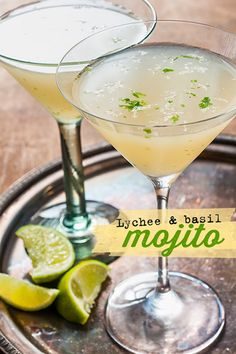 Basil Lychee 'mojito' This refreshing gin based lychee-basil 'mojito' can be server long over crushed ice or strained as a martini. Lychee Cocktail, Basil Cocktail, Lychee Juice, Lychee Fruit, Cocktail Drinks, Bartender Drinks, Cocktail Ideas, Frases, Slushies