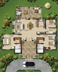 Imagens de plantas de casas com grande gramado