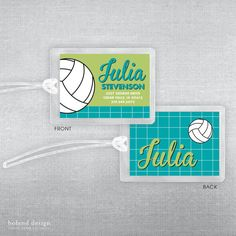 Volleyball bag tag. Volleyball luggage tag. by BolandDesignPaperCo