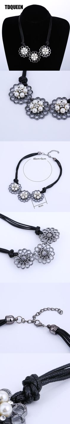 TDQUEEN Vintage Necklace Fashion Black Gun Pearl Flower Pendant New Arrival Wholesale Girl Rope Maxi Statement Choker Necklace