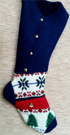 Felted Wool Christmas Tree Stocking by NancysAccessories on Etsy
