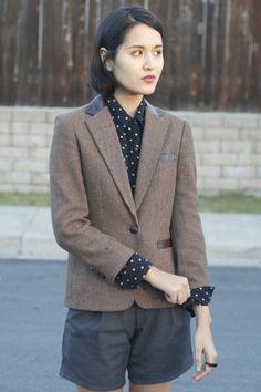 I like the polka dots and blazer combination!