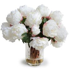 New Growth Designs Larger White Peony Faux Flowers ($920) ❤ liked on Polyvore featuring home, home decor, floral decor, flowers, plants, fillers, backgrounds, silk flower bouquets, artificial flowers and fake flower bouquets