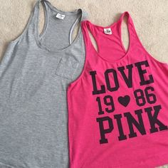 VS PINK Tanks Bundle: VS LOVE PINK 1986 Racerback Tank (in pink). Size S. Worn 3x, still in good condition. Loose Fit. Perfect for working out, worn at the beach or simply lounging in.    VS Basic Pocket Racerback Tank (in grey). Size S. Worn 3x, still in good condition. More fitted. Perfect for casual wear, working out or lounging in.   Additional Bundling offered  Bundle Price Firm for these items  Inquires welcome Victoria's Secret Tops