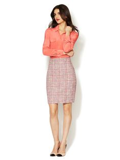 TERESA Tweed Skirt, simple peach silk blouse, two-toned strappy pumps