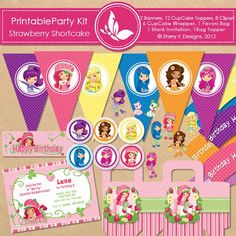 Shery K Designs: Cupcake toppers wrappers-free printable party kits Strawberry Shortcake Birthday, 4th Birthday Parties, Birthday Ideas, 5th Birthday, Birthday Decorations, Party Kit, Party Ideas, Party Packs, Party Printables