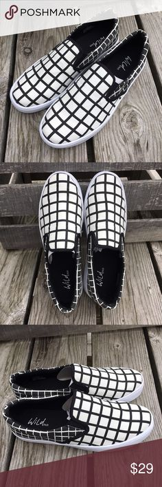"🆕List! Wild Pair Canvas ""Checkered"" Loafers! NEW! New in box! Funky shoes to go with everything! Size 8.5 coming soon! Wild Pair Shoes Flats & Loafers"