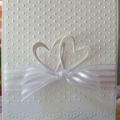Heart Prints two hearts ribbon emboss dots lace edge