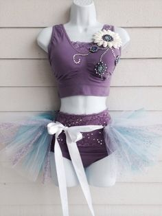 Lavender Sports Bra/  Rave Bra / EDC Bra / Costume Bra w/ Matching High Waist Panties andWrap Around Tie Tutu on Etsy, $70.00