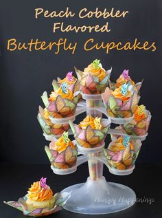 Mother's Day Treats - Peach Cobbler Butterfly Cupcakes