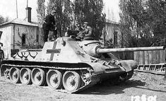 Soviet SU-85 Tank Destroyer, captured and reused by the Germans.