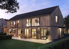 Dream House Exterior, Dream House Plans, Modern Farmhouse Exterior, Farmhouse Style, Facade Design, Exterior Design, Modern Barn House, Bright Homes, Forest House