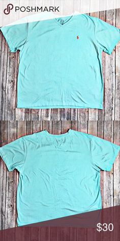 """Ralph Lauren Polo T-Shirt Very used condition t-shirt by Ralph Lauren Polo. Teal in color wit a v neck cut. Material is 100 % cotton.  Measurements laid flat: chest 25.5"""" and length from top of shoulder to hem 29.5"""".  This summer s a XXLT. Polo by Ralph Lauren Shirts Tees - Short Sleeve"""