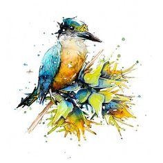Watercolour Kingfisher, (NZ Native Bird) - By Jeremy Kyle Artist Watercolor Animals, Watercolor And Ink, Watercolor Paintings, Original Paintings, Watercolor Ideas, Watercolours, Bird Illustration, Kingfisher, Art Sketchbook