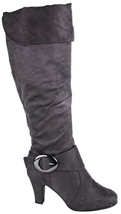 Walstar Women Faux Suede Gray Knee High Boots On Sale *** For more information, visit now : Boots Shoes