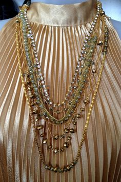 Hareem 2 Gold Plated Multi Layer Chain and glass by zuzuzoom