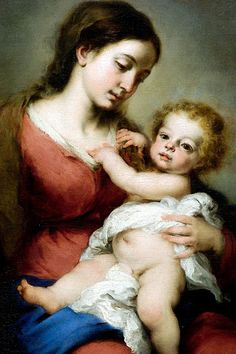 Bartolomé Esteban Murillo: Virgin and Child.  The baby Jesus has such penetrating knowing eyes