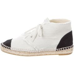 Pre-owned Chanel Cap-Toe Espadrille Sneakers ($545) ❤ liked on Polyvore featuring shoes, sneakers, neutrals, high-top sneakers, black canvas shoes, beige sneakers, black hi tops and black sneakers