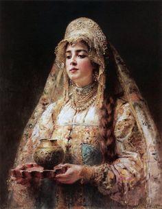 "oldpaintings: "" Cup of Honey, c. 1890 by Konstantin Makovsky (Russian, 1839–1915) """