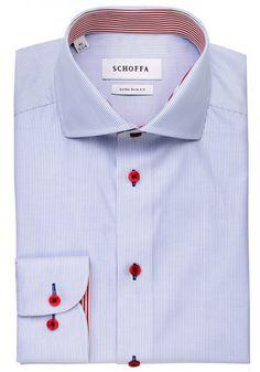 Brackley Blue Men's Shirt Blue shirt with red contrast buttons