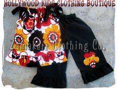 Custom Boutique Clothing Funky Retro Kleo Top Black Ruffled Flower Floral Pant Outfit Set 3 6 9 12 18 24 month 2T 2 3T 3 4T 4 5T 5 6 7 8