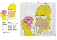 Homer Simpson ciambelle schema punto croce gratis 97x91