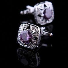 Purple Zircon Centered Cufflinks