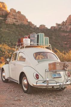 how to travel in style :). i've always wanted a volkswagen beetle, but not the stupid-looking, girly ones; i want a volkswagen charlotte from the Vw Vintage, Vintage Love, Vintage Luggage, Vintage Suitcases, Vintage Travel, Vintage Style, Vintage Classic Cars, Vintage Music, Vintage Vibes