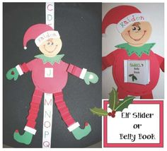 Elf on a Shelf activities: FREE Elf Slider & Belly Booklet.  Perfect for December Elf on a Shelf activities.