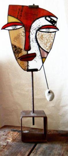 escultura de vidrio  vidrio,estaño,hierro tiffany Glass Wall Art, Fused Glass Art, Mosaic Glass, Stained Glass Designs, Stained Glass Patterns, Modern Sculpture, Abstract Sculpture, Ceramic Mask, Tiffany Art